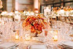 Low Round Peach and Gold Wedding Centerpiece.