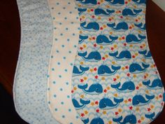 Baby Boy Gift Set of 3 Burp Cloths Cotton Fabric Whales Stars & Blue Dots by PurpleLadybugGifts on Etsy