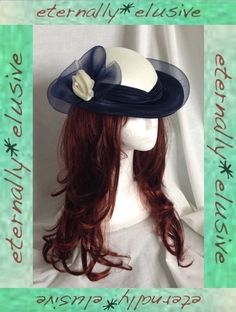 VTG 70s Do 40s C&A Navy & White Occasion Hat Women Ladies Wedding Goodwood Races  35.00 FPP