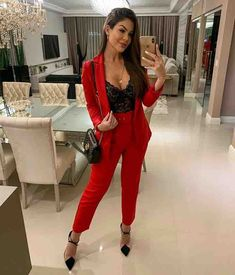 Another stunning Valentine's Day outfit idea, featuring a black lace bralette an. - Another stunning Valentine's Day outfit idea, featuring a black lace bralette and a stunning red suit. suit Source by - Mode Outfits, Night Outfits, Classy Outfits, Trendy Outfits, Fashion Outfits, Womens Fashion, Semi Formal Outfits For Women, Classy Going Out Outfits, Fashion Clothes