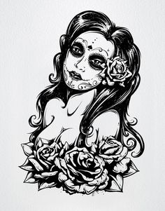 Create a Tattoo Style, Grunge, Day of Dead Girl Poster in Illustrator - Tuts+ Design & Illustration Tutorial Day Of The Dead Woman, Create A Tattoo, Tattoo Son, Tattoo Pics, Female Face Drawing, Girl Posters, Marquesan Tattoos, Chicano Art, Chicano Tattoos