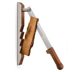 Wall mounted wood splitter.