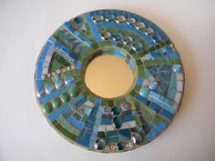 Heaven and Earth Round Abstract Mosaic Mirror  by TheMosartStudio, $100.00