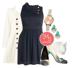 """""""Coach Tour Dress in Bleu"""" by modcloth ❤ liked on Polyvore featuring Streamline NYC, Olivia Burton, T.U.K. and Seychelles"""