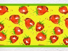 Erdbeeren als Küchenbordüre
