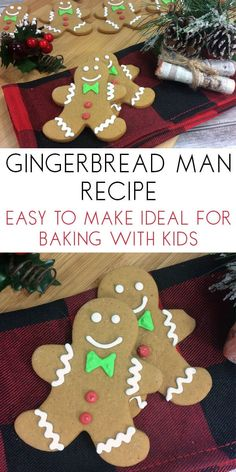 A simplified Gingerbread Cookie recipe that is ideal to make with children of all ages. Perfect for baking some gifts to say Thank You year round. Christmas Cookie Exchange, Christmas Baking, Christmas Cookies, Christmas Crafts, Christmas Recipes, Holiday Recipes, Christmas Decorations, Easy Gingerbread Recipe, Gingerbread Man