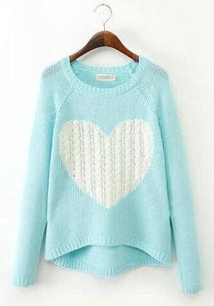 Sky Blue Cartoon Pattern Round Neck Sweet Cotton Pullover Sweater