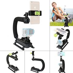 Fantaseal DCDV3in1 Camera Steadycam Mount Hand Grip C Stabilizer Bracket Low Position Shooting Rig Handle Support Holder w3 Axis Hot Shoe Bubble Level for Gopro SJCAMGarmin Virb  other cameras * You can find more details by visiting the image link.