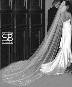 Swarovski Rhinestones Veil - Single Tier Cathedral Length Bridal Veil - Ivory, Diamond White or White Wedding Veil