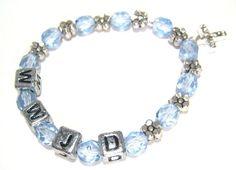 WWJD Girls Blue Crystal Flower Bracelet by BrankletsNBling on Etsy,