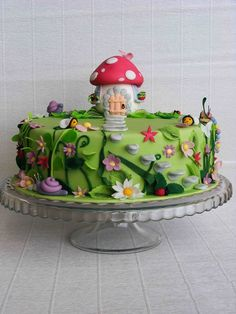 little mushroom house in an enchanted garden