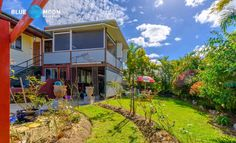 The huge cyclone rated covered deck by 'Designer Decks' of Mooloolah, faces east and provides a magnificent 180 degree mountain and valley view of the surrounding area. Valley View, Deck Design, Blue Moon, Decks, Property For Sale, Mountain, Real Estate, Cabin, House Styles
