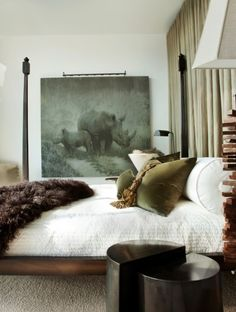 rhino ing with fur & velvet, modern classic bed, contemporary home furniture, modern interior design ideas, bedroom design ideas Dream Bedroom, Home Bedroom, Master Bedroom, Bedroom Decor, Bedroom Colors, Beautiful Bedrooms, Beautiful Interiors, Cute Home Decor, Decoration