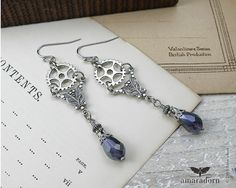 Victorian Steampunk Earrings Silver Gears and Lilac by Amaradorn