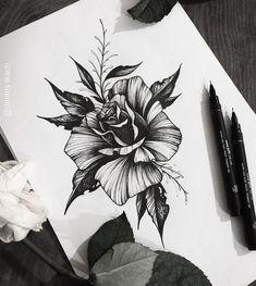 Tattoo design - New Tattoo Models Black Tattoos, Body Art Tattoos, New Tattoos, Sleeve Tattoos, Tattoo Ink, Tatoos, Flower Tattoo Designs, Flower Tattoos, Tattoo Sketches