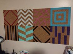 Diy painted cork boards - we can have four in the kitchen, one for each person!