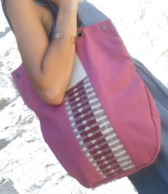 Canvas Hobo Tote Bag / Tribal Woven pattern bag by LunaBagDesigns, $60.00