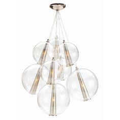 This tall (not adjustable) eight light cluster of the clear glass Caviar spheres is finished in polished nickel. Makes for a dramatic light sculpture over a table.H: x Light/Polished Nickel/Clear Glass Luxury Chandelier, Contemporary Chandelier, Luxury Lighting, Home Lighting, Modern Lighting, Pendant Lighting, Lighting Design, Bubble Chandelier, Lighting Ideas
