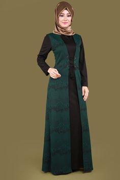 ** BÜYÜK BEDEN EN YENİ ** Kabartma Desenli Tesettür Elbise Zümrüt Ürün kodu: MZ9208 --> 109.90 TL