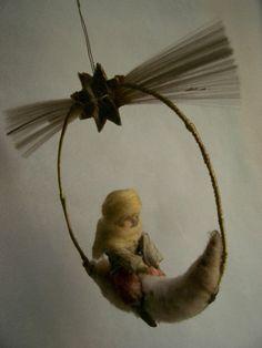 Antique Grman spun cotton * MOON BOY *  Christmas Ornament *1