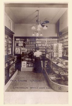 Postcard of the interior of a pharmacy / photography store, sent from Michigan to Vermont 102 years ago