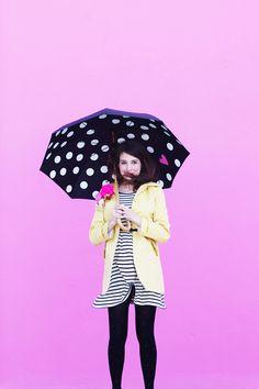 DIY polka dot umbrellas!