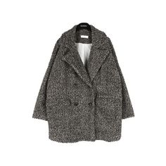 Double Breasted Round Knit Coat w/ Notch Collar |... (125 SGD) ❤ liked on Polyvore featuring outerwear, coats, jackets, clothes - outerwear, double breasted coat and knit coat