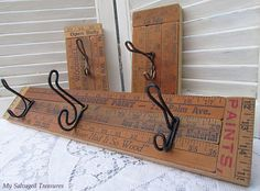 My Salvaged Treasures: Old Yardsticks and Rusty Hooks -how to