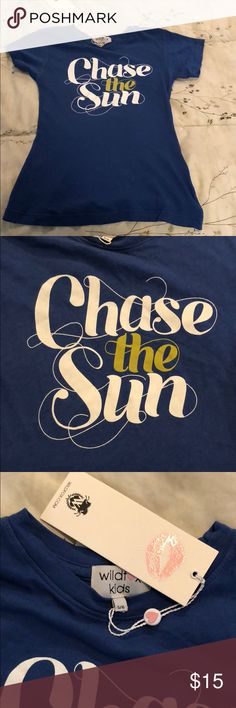 Wildfox Kids Chase the Sun blue s/s t-shirt 5/6 New and from smoke fre, pet free home.  Size 5/6.  Super soft.  100% Cotton.  I have a few Wildfox Kids items...bundle up and make me an offer! Wildfox Shirts & Tops Tees - Short Sleeve