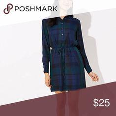 ed295f3a476b0b Loft plaid tie waist shirtdress Classic and comfy! Stylish navy blue and  forest green plaid. More information. More information
