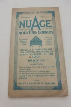 Antique  NuAce Baby Bblue Photo Mounting Corners NIP by papertales, $5.15