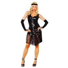 LEG AVENUE Gatsby Girl Black Halloween Party Sequin Flapper Costume S/M