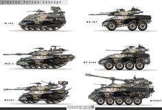 Concept tanks and military vehicles by feng guo Military Gear, Military Equipment, Military Weapons, Army Vehicles, Armored Vehicles, Tank Armor, Sci Fi Weapons, Weapon Concept Art, Tank Design