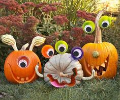 Playful eyes and uniquely shaped gourds turn this year's pumpkins into easy-to-make silly monsters that any kid will love: http://www.bhg.com/halloween/pumpkin-decorating/pumpkin-carving-ideas-for-kids/?socsrc=bhgpin100514monsterpumpkins&page=1