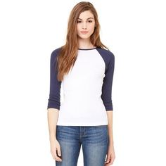 982e98ef Ladies Stretch Rib 3/4 Sleeve Raglan Tee Baseball, Tees, Fashion, Moda
