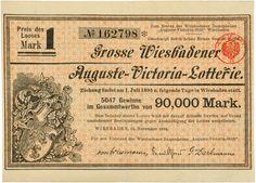 Grosse Wiesbadener Auguste-Victoria-Lotterie, Wiesbaden, 15.11.1894, Loos für 1 Mark, #162798, 10,6 x 14,7 cm, braun, orange, Knickfalte längs.