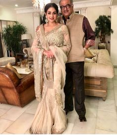 The festivals are over and what we are left with is the many clicks from the same and a few shared by Sridevi recently with husband Boney Kapoor will give some serious couple goals to all. Saree Blouse Patterns, Royal Look, Saree Trends, Elegant Saree, Saree Look, Pink Saree, Indian Celebrities, Party Wear Sarees, Indian Designer Wear