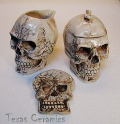 Aged Human Skull Ceramic Creamer & Sugar Bowl & Spoon Rest by TexasCeramics,