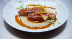 Gary Mehigan's pan-fried duck breast with parsnip puree and chips @ Masterchef Australia 2013..wanna try this parsnip puree