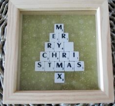 Merry Christmas scrabble art christmas tree by SRUpholstery