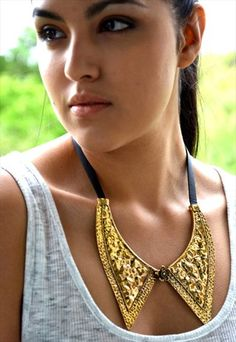 """Gold Faux Collar PVC Leather 21"""" Necklace Gold Collar, Arrow Necklace, 21st, Drop Earrings, Leather, Store, Jewelry, Women, Fashion"""