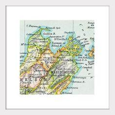 Vintage Map framed - South Island, New Zealand