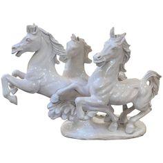 Large Italian Blanc de Chine Sculpture of Running Stallions