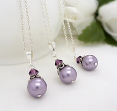 Purple bridesmaid necklace, Purple pearl necklace, Sterling silver lilac lavender purple bridesmaid jewelry set on Etsy, $25.00