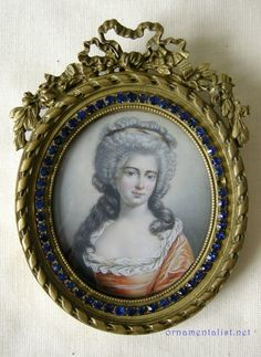 Miniature Watercolor On Ivory Portrait Of Marie Antoinette In An Apricot Dress  c. 1870's