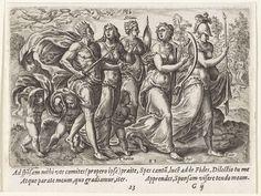 Gerard P. Groenning | Koning op weg naar de bruid, Gerard P. Groenning, Philips Galle, 1574 | Christus, gekleed als koning, wordt door Geloof (Fides), Hoop (Spes), Wetenschap (Scientia) en Liefde (Charitas) naar zijn bruid (Sponsa) begeleid. In de lucht vliegt een engel met een lauwerkrans. Rechts op de achtergrond wacht de bruid. In de marge een vierregelig onderschrift, in twee kolommen, in het Latijn.
