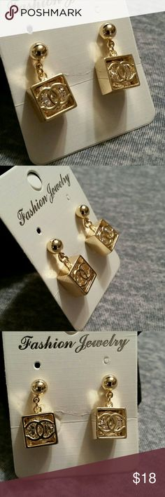 Box cz earrings Gold plated  square box cc earrings with cubic zirconia Jewelry Earrings