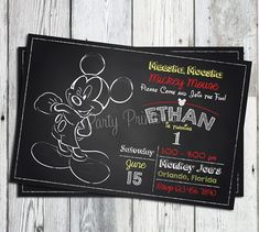Mickey Mouse 1st Birthday Invitations: Printable Chalkboard style invitation, Matching Party Printables Available. on Etsy, $13.00