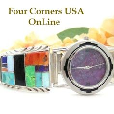 Men's Inlay Sterling Watch Shown with Purple Mohave Turquoise Face Native American Navajo Jewelry Arnold Yazzie Four Corners USA OnLine Store NAW-093403