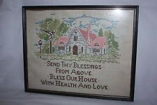 VINTAGE FRAMED COMPLETED CROSS STITCH SAMPLER ON LINEN SEND THY BLESSINGS HOUSE House Blessing, Cross Stitch Samplers, Vintage Frames, Blessings, Blessed, Home Decor, Decoration Home, Canvas, Room Decor